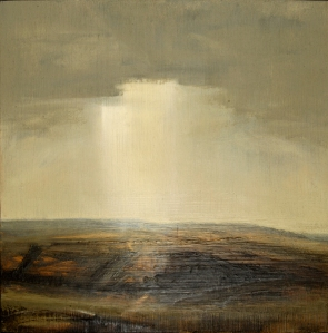 'Sussex Downs Sunset Sienna IV' - Oil on panel