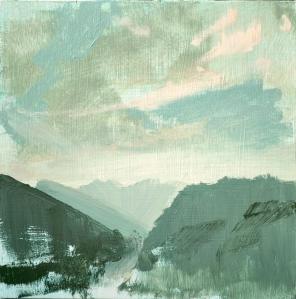 'Tusan Landscape - Mountains III', 28 cm, oil on panel